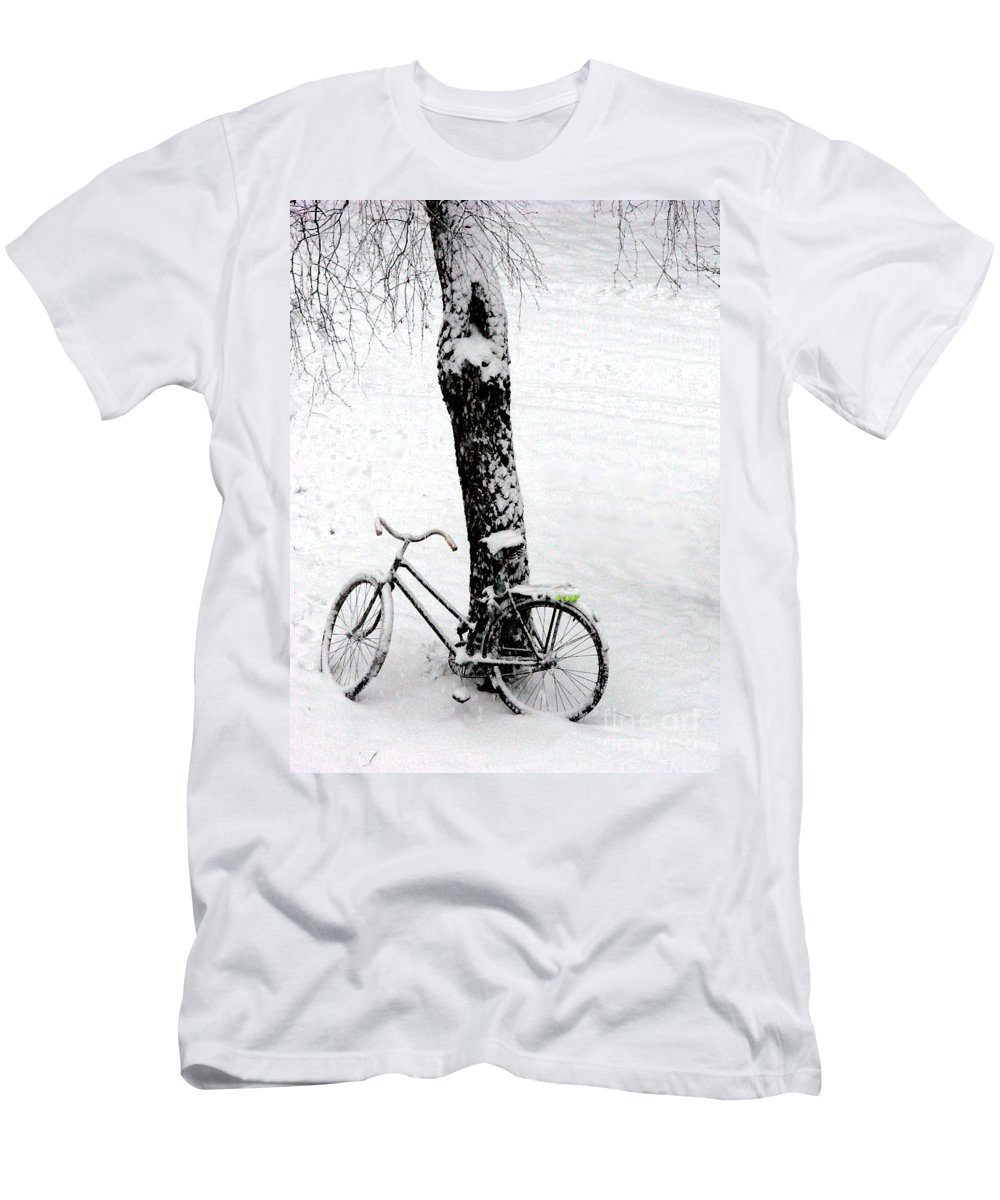 Bicycle Men's T-Shirt (Athletic Fit) featuring the photograph They Left Me Here Alone by Ausra Huntington nee Paulauskaite