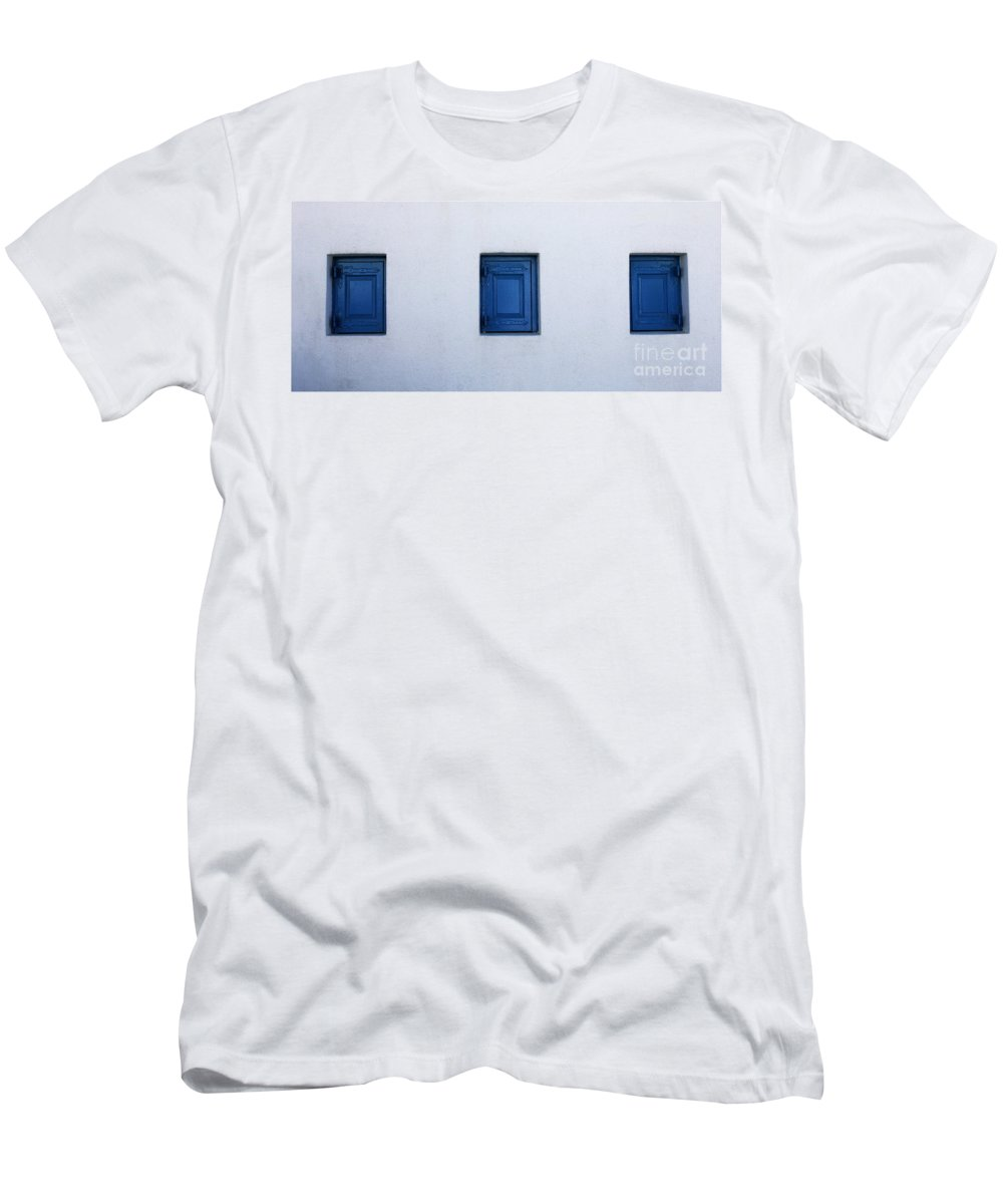 Greece Men's T-Shirt (Athletic Fit) featuring the photograph Three Blue Shutters by Bob Christopher