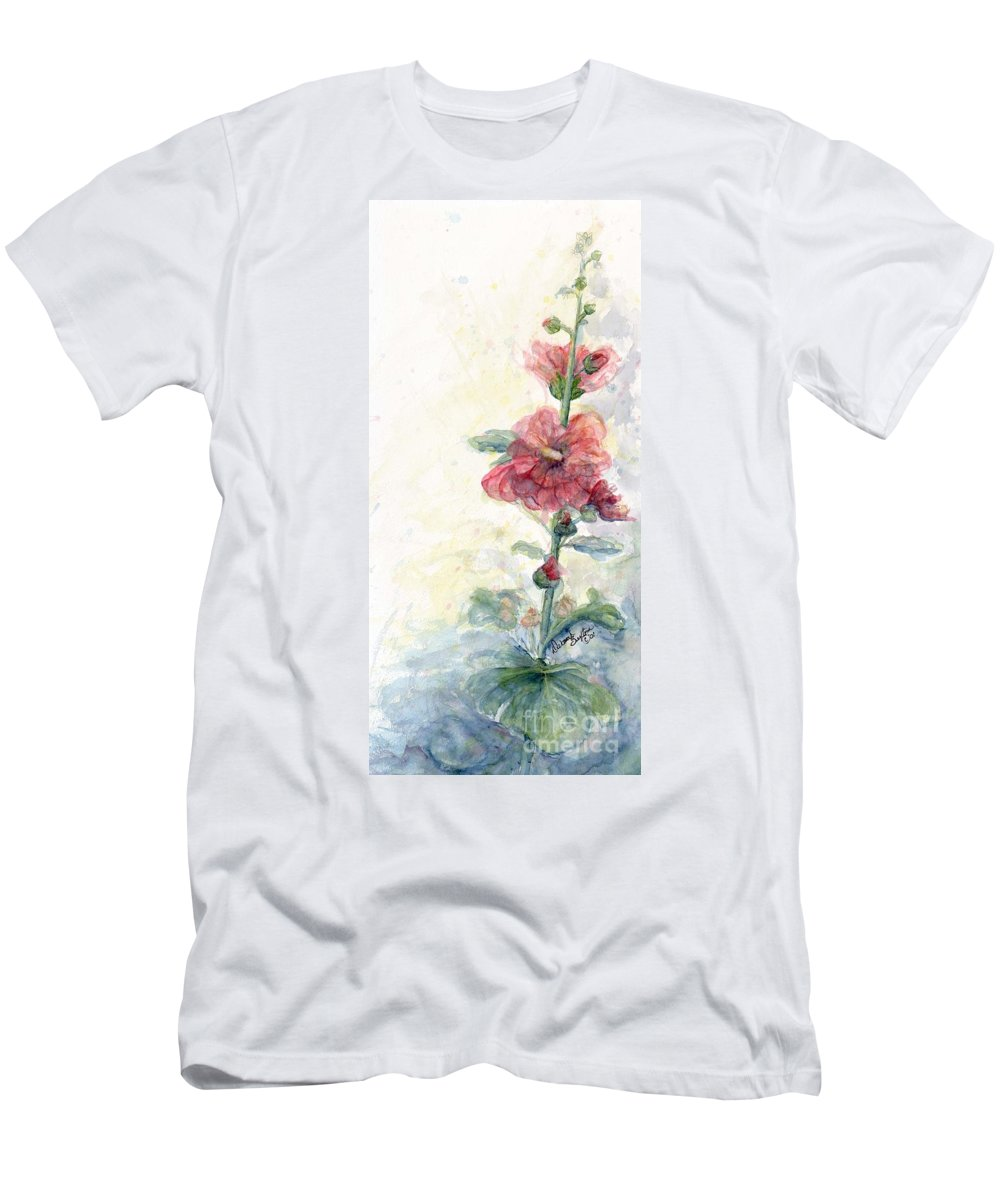 Watercolor Men's T-Shirt (Athletic Fit) featuring the painting Touch Of Summer Hollyhocks Watercolor by CheyAnne Sexton