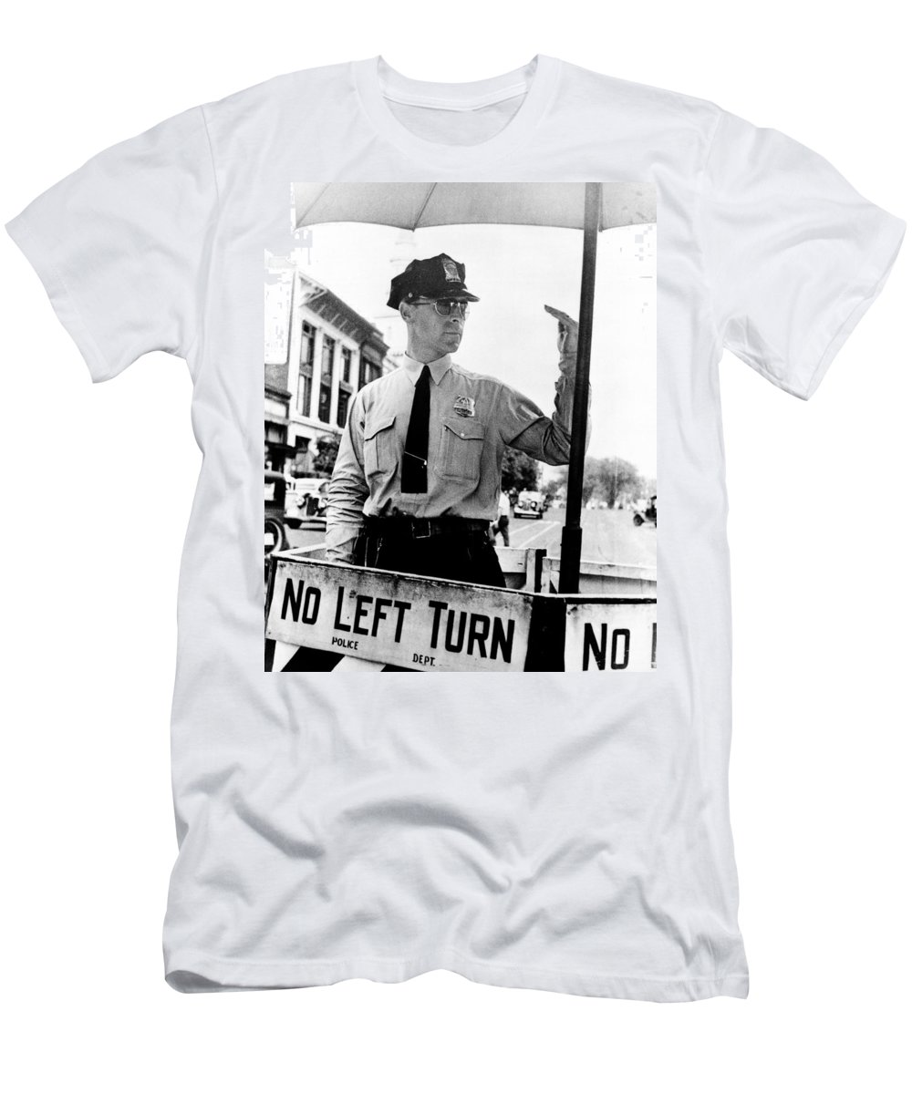 1936 Men's T-Shirt (Athletic Fit) featuring the photograph Traffic Cop, 1936 by Granger