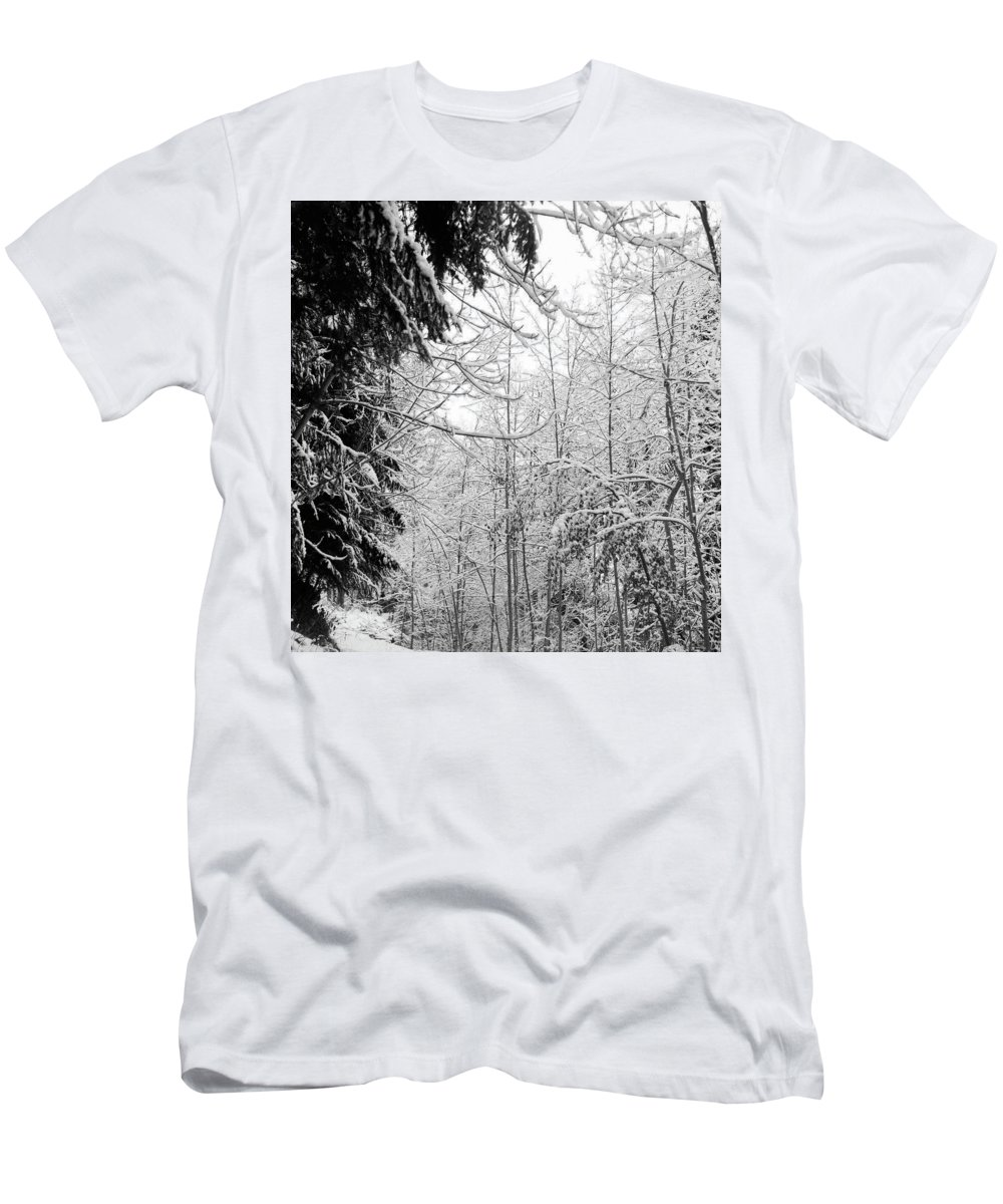Landscapes Men's T-Shirt (Athletic Fit) featuring the photograph Trees Under The Snow by Olivier De Rycke