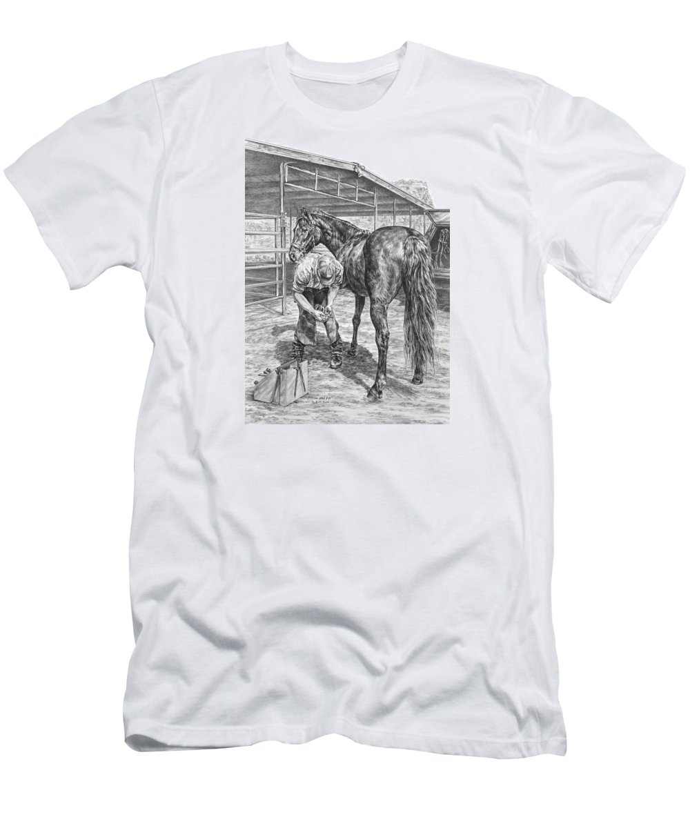 Farrier Men's T-Shirt (Athletic Fit) featuring the drawing Trim And Fit - Farrier With Horse Art Print by Kelli Swan