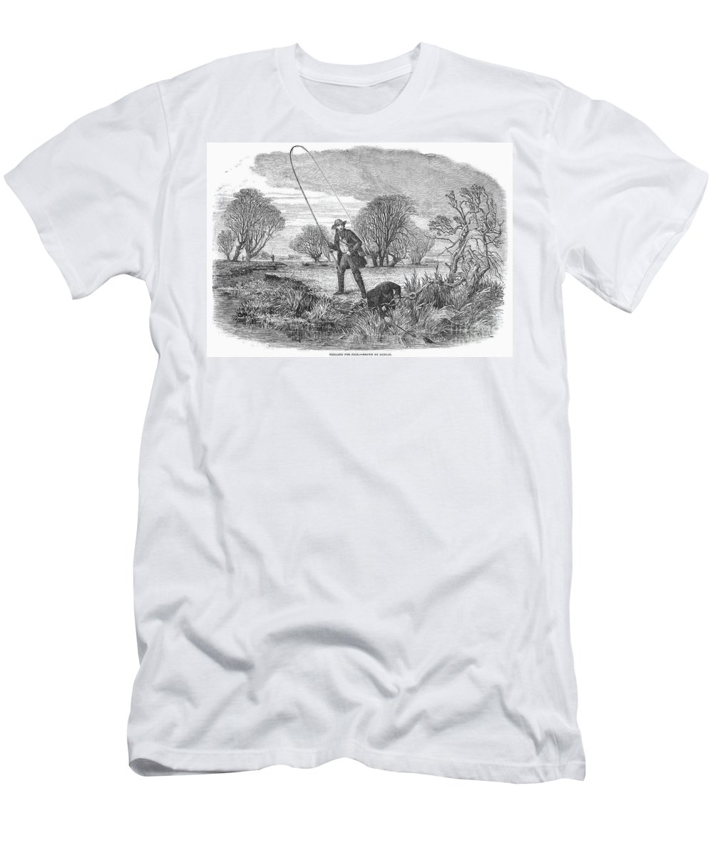 1850 Men's T-Shirt (Athletic Fit) featuring the photograph Trolling For Jack, 1850 by Granger
