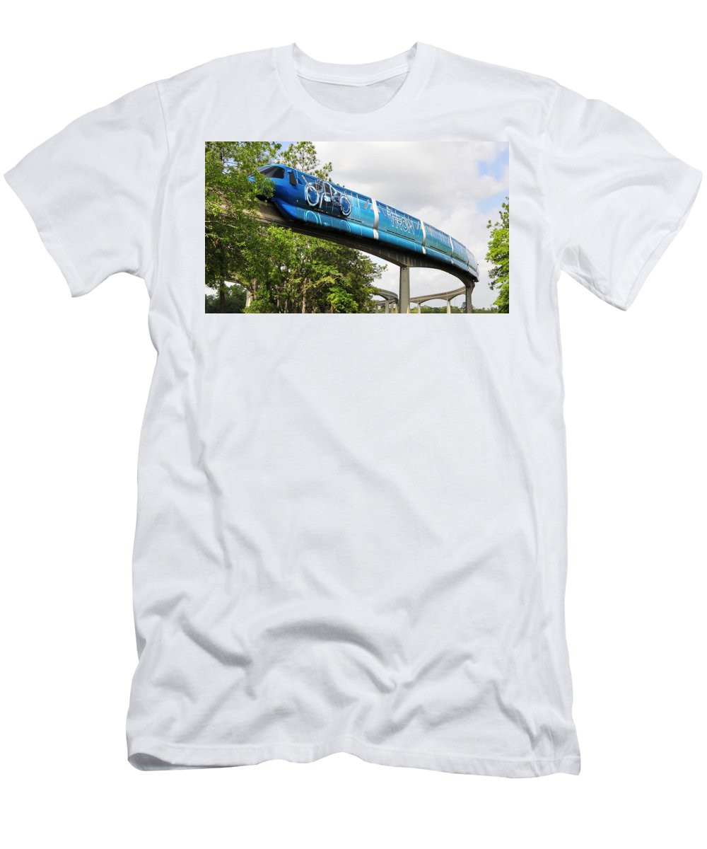 Monorail Men's T-Shirt (Athletic Fit) featuring the photograph Tron A Rail by David Lee Thompson