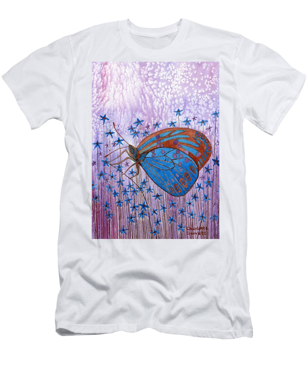 Butterfly Art Men's T-Shirt (Athletic Fit) featuring the painting Trust Butterfly by Charlotte Garrett