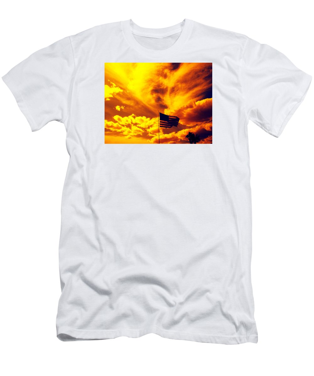 Skies Men's T-Shirt (Athletic Fit) featuring the photograph Turbulant America by Charles Benavidez