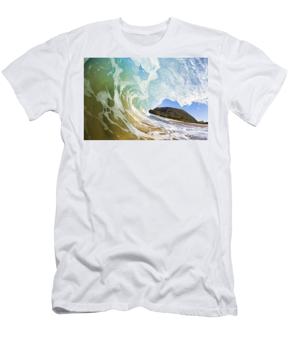 Amazing Men's T-Shirt (Athletic Fit) featuring the photograph Turquoise Wave Breaking On Makena Shore by MakenaStockMedia - Printscapes