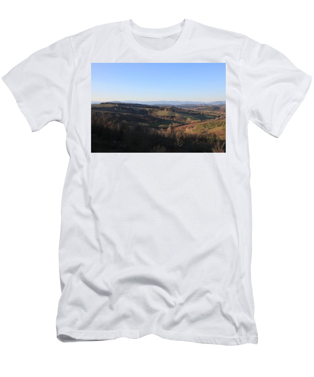 Montespertoli Men's T-Shirt (Athletic Fit) featuring the photograph Tuscany Valleys At Sunset by Francesco Scali