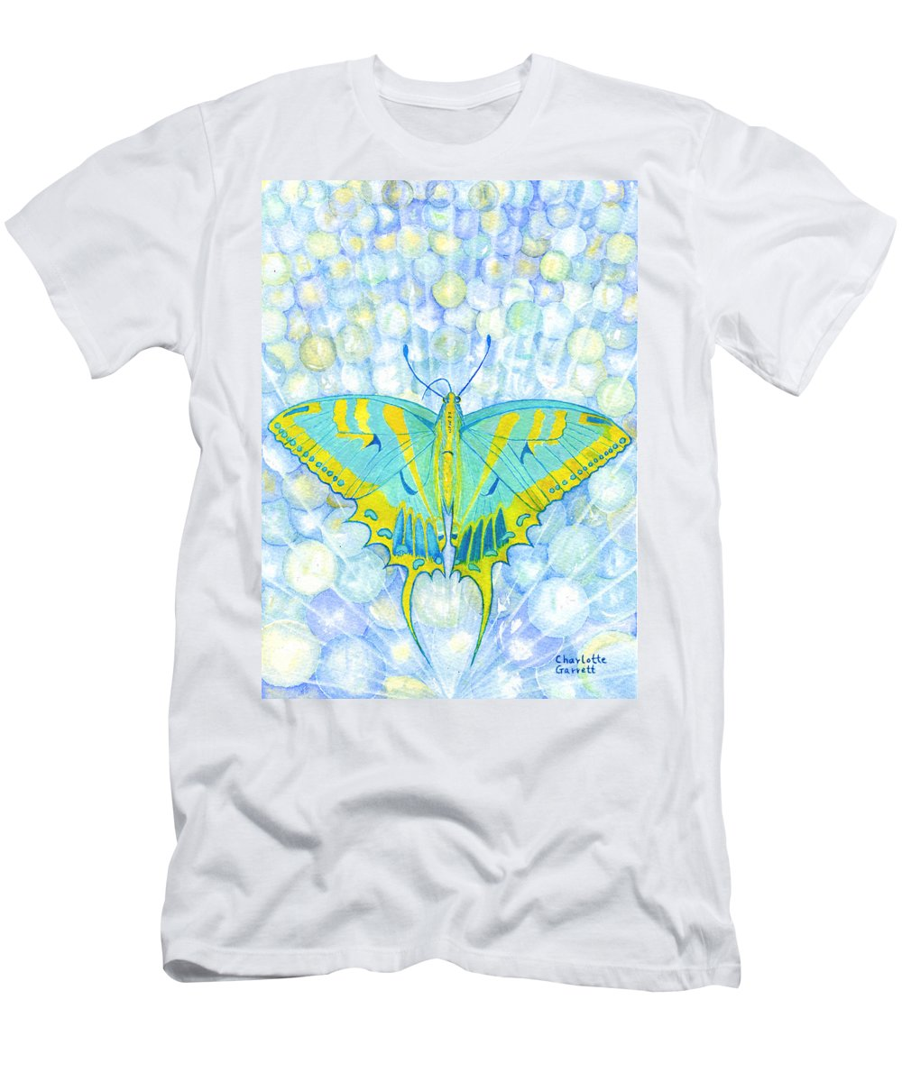 Butterfly Art Men's T-Shirt (Athletic Fit) featuring the painting Unity Butterfly by Charlotte Garrett