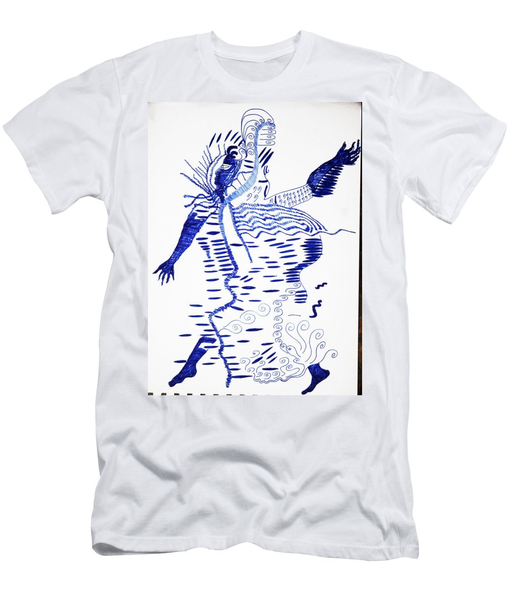 Jesus Men's T-Shirt (Athletic Fit) featuring the drawing Upper Guinea Dance by Gloria Ssali