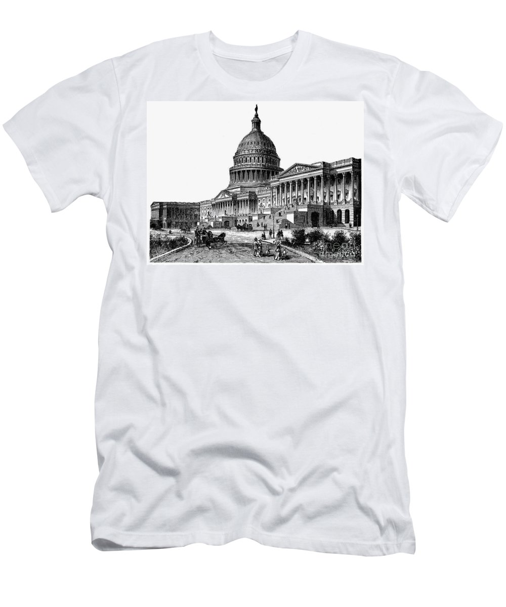 1884 Men's T-Shirt (Athletic Fit) featuring the photograph U.s. Capitol, 1884 by Granger