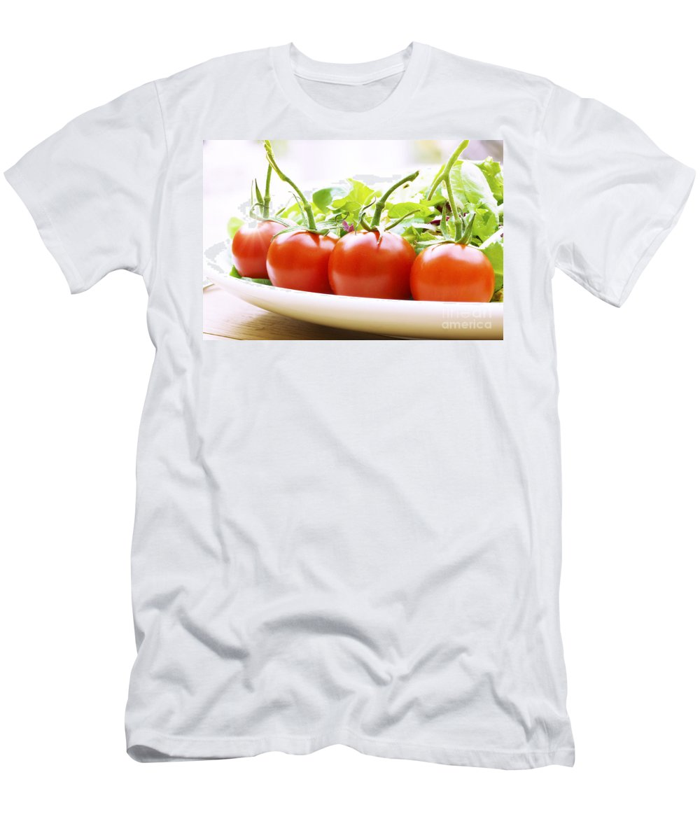 Food Men's T-Shirt (Athletic Fit) featuring the photograph Vine Tomatoes On A Salad Plate by Simon Bratt Photography LRPS