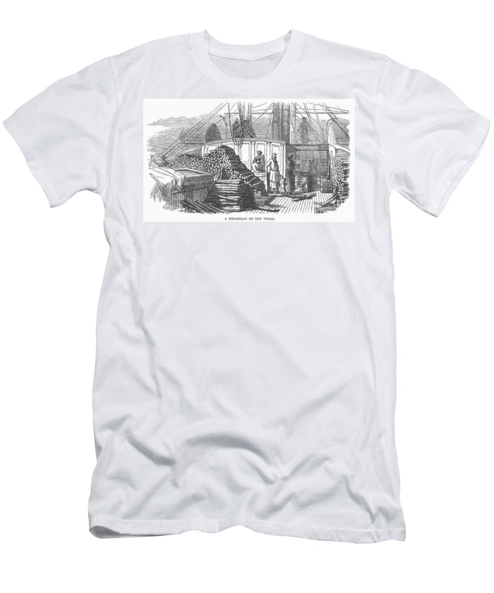 19th Century Men's T-Shirt (Athletic Fit) featuring the photograph Volga Steamboat by Granger