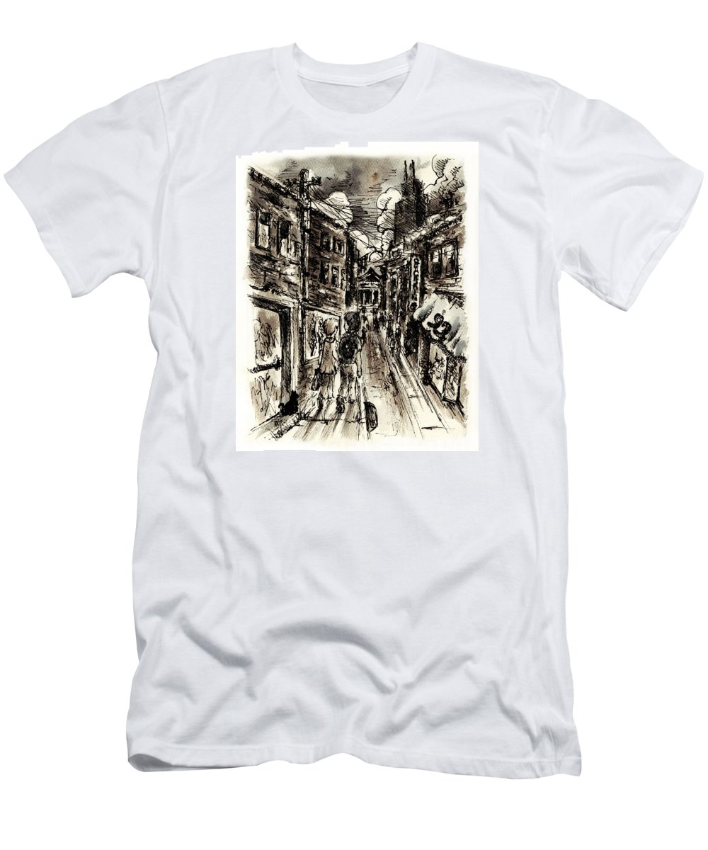 City T-Shirt featuring the painting Walkin In The City by William Russell Nowicki