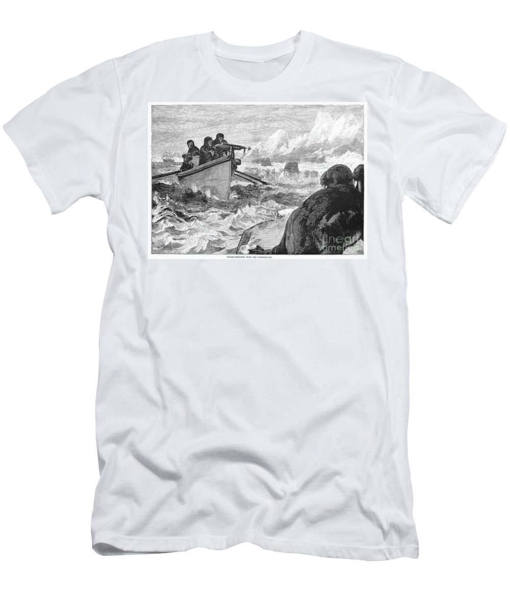 1875 Men's T-Shirt (Athletic Fit) featuring the photograph Walrus Hunt, 1875 by Granger