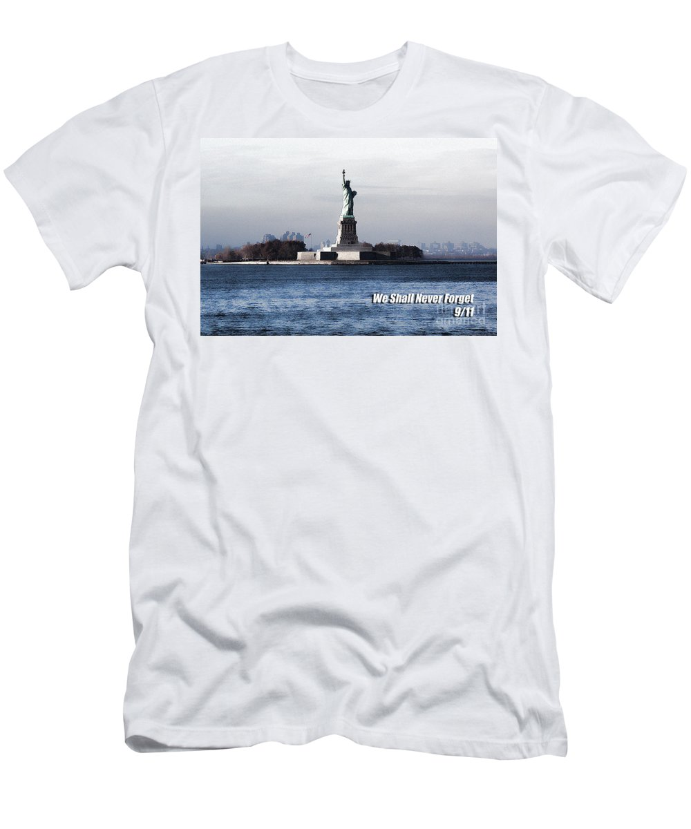 Photographer In North Ridgeville Men's T-Shirt (Athletic Fit) featuring the photograph We Shall Never Forget - 9/11 by Mark Madere