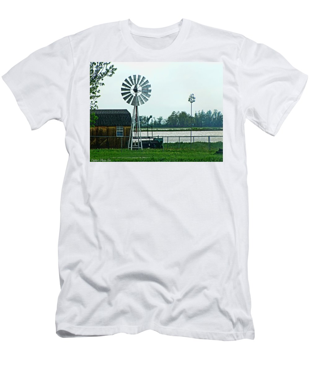 Buildings Men's T-Shirt (Athletic Fit) featuring the photograph Wet And Wendy by Debbie Portwood