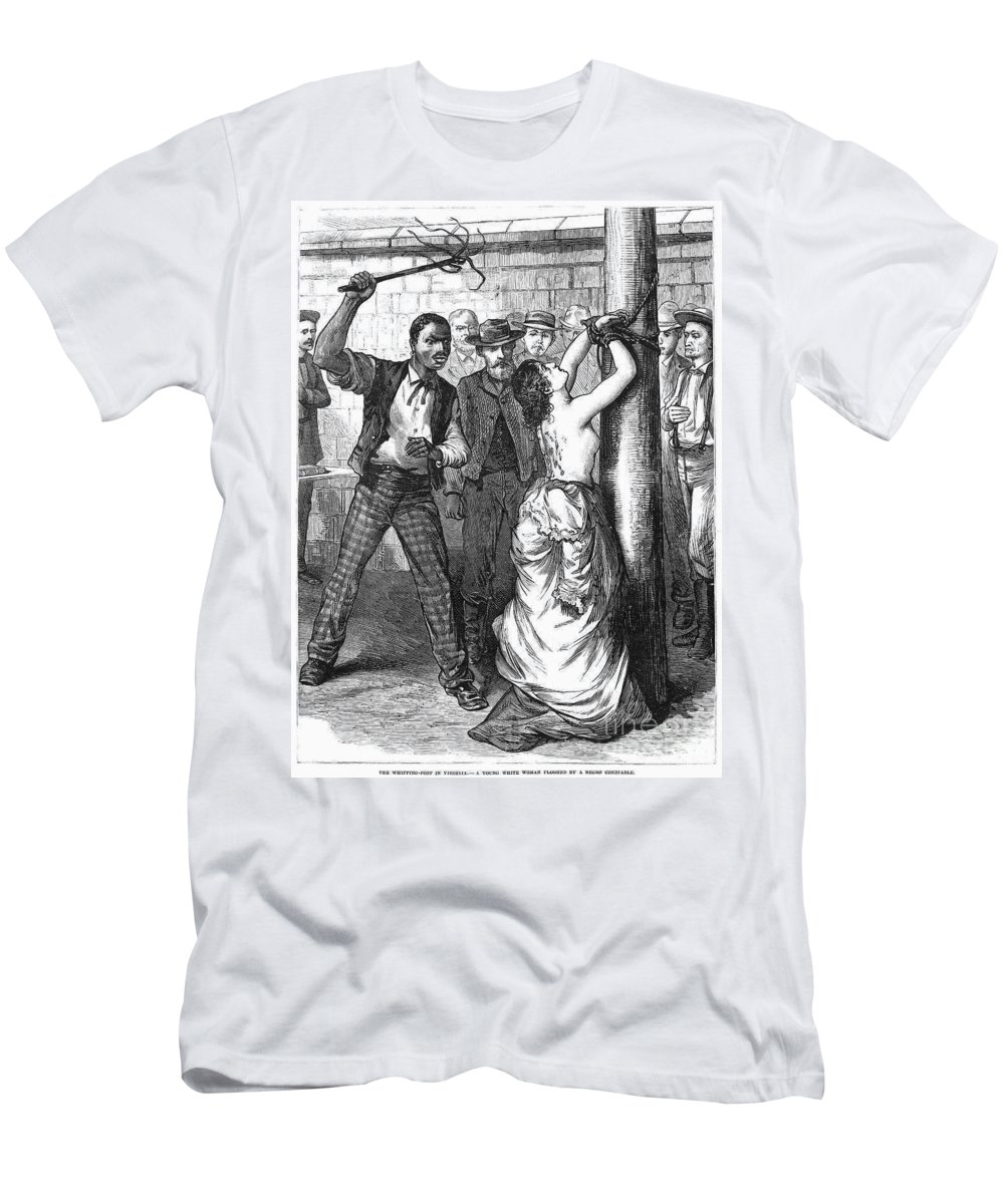 1878 Men's T-Shirt (Athletic Fit) featuring the photograph Whipping Post, 1878 - To License For Professional Use Visit Granger.com by Granger