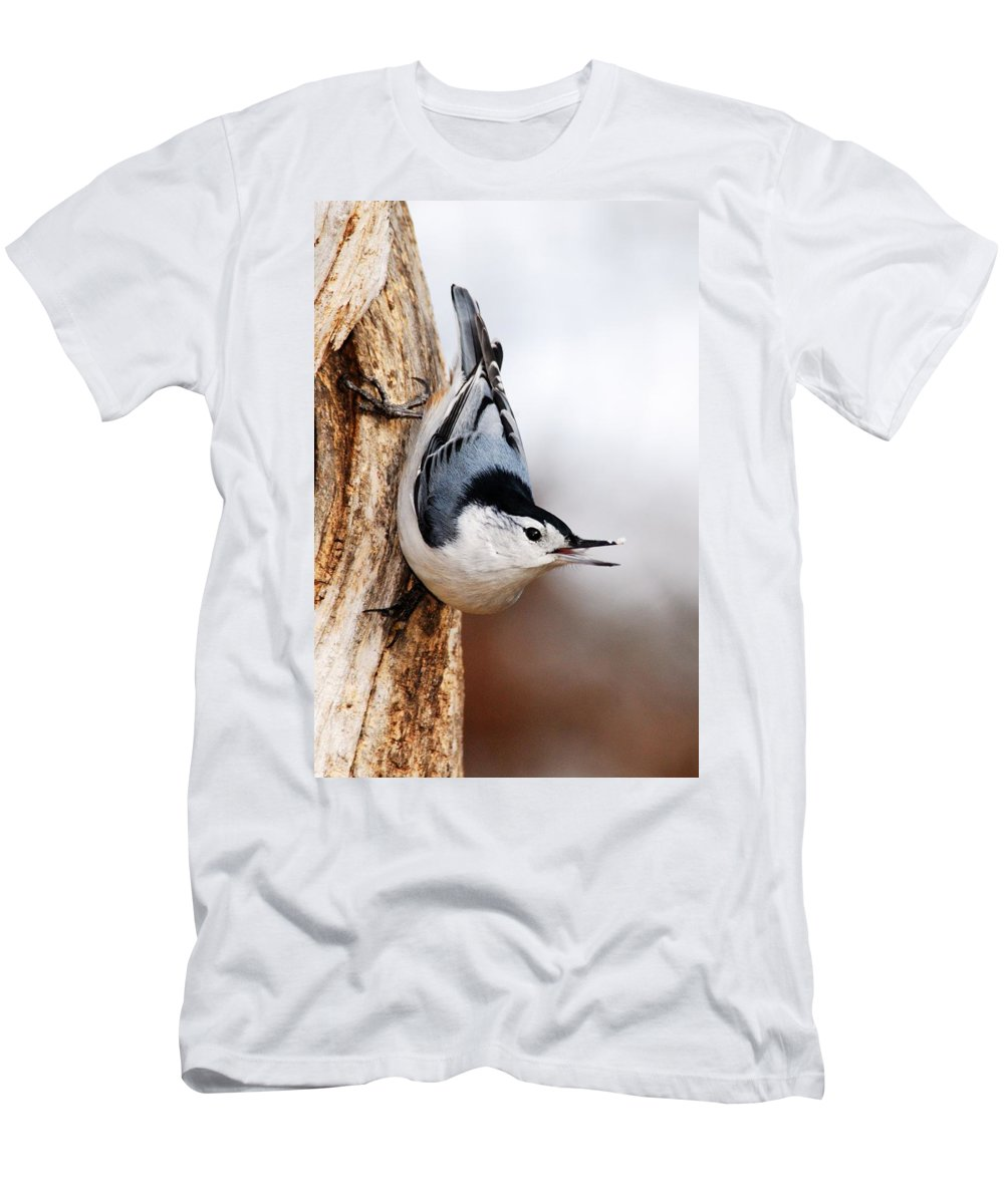 Photography Men's T-Shirt (Athletic Fit) featuring the photograph White-breasted Nuthatch 3 by Larry Ricker
