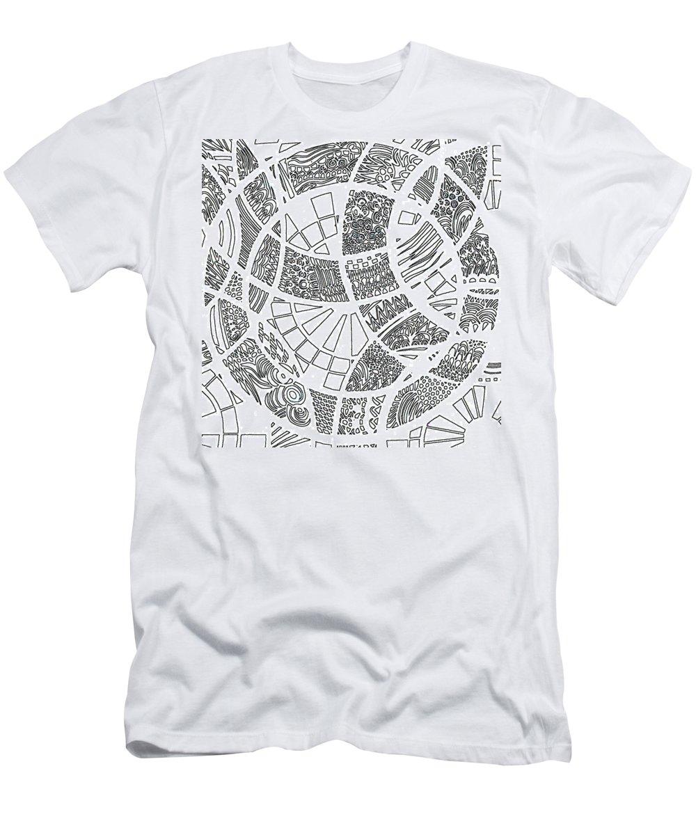 Doodle Men's T-Shirt (Athletic Fit) featuring the digital art White Doodle Circles by Karen Elzinga