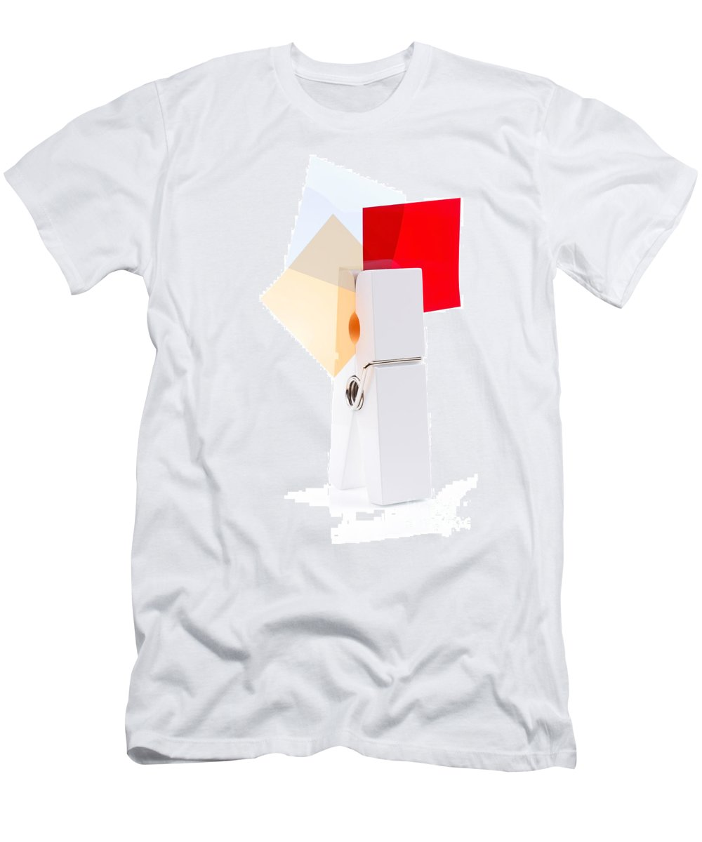 Peg Men's T-Shirt (Athletic Fit) featuring the photograph White Peg Holding Squares by Simon Bratt Photography LRPS