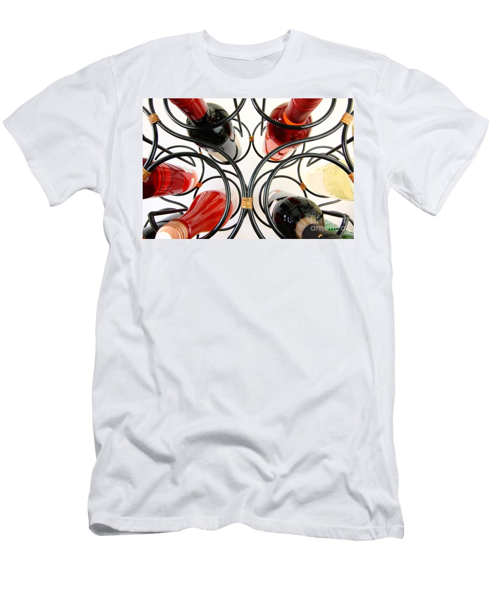 Wine Men's T-Shirt (Athletic Fit) featuring the photograph Wine Bottles In Curved Wine Rack by Simon Bratt Photography LRPS