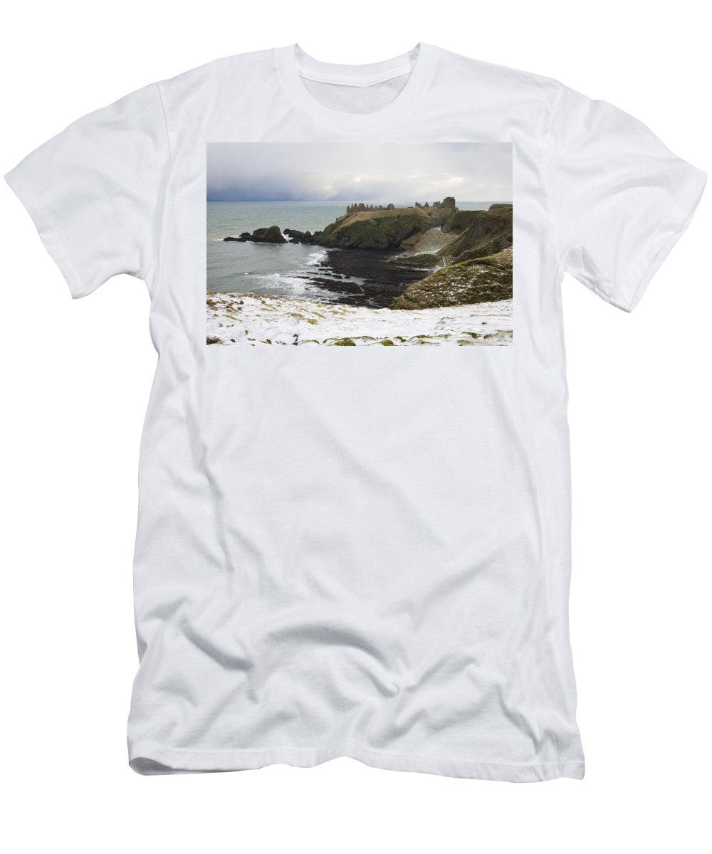 Dunottar Men's T-Shirt (Athletic Fit) featuring the photograph Winter Storm At Dunottar by Howard Kennedy