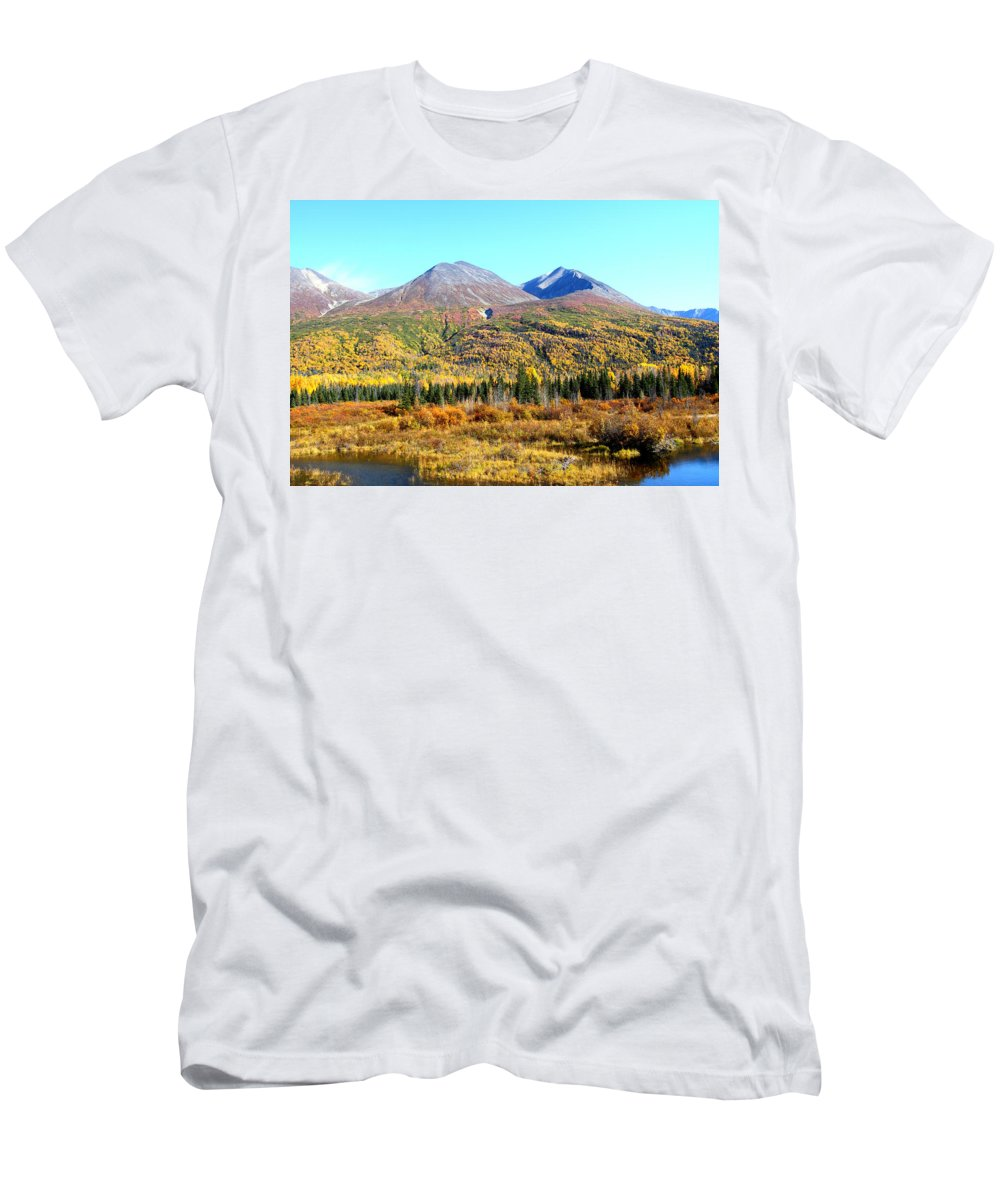 Doug Lloyd Men's T-Shirt (Athletic Fit) featuring the photograph Wrangell Mountains Colors by Doug Lloyd