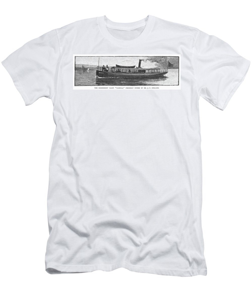 1882 Men's T-Shirt (Athletic Fit) featuring the photograph Yacht, 1882 by Granger