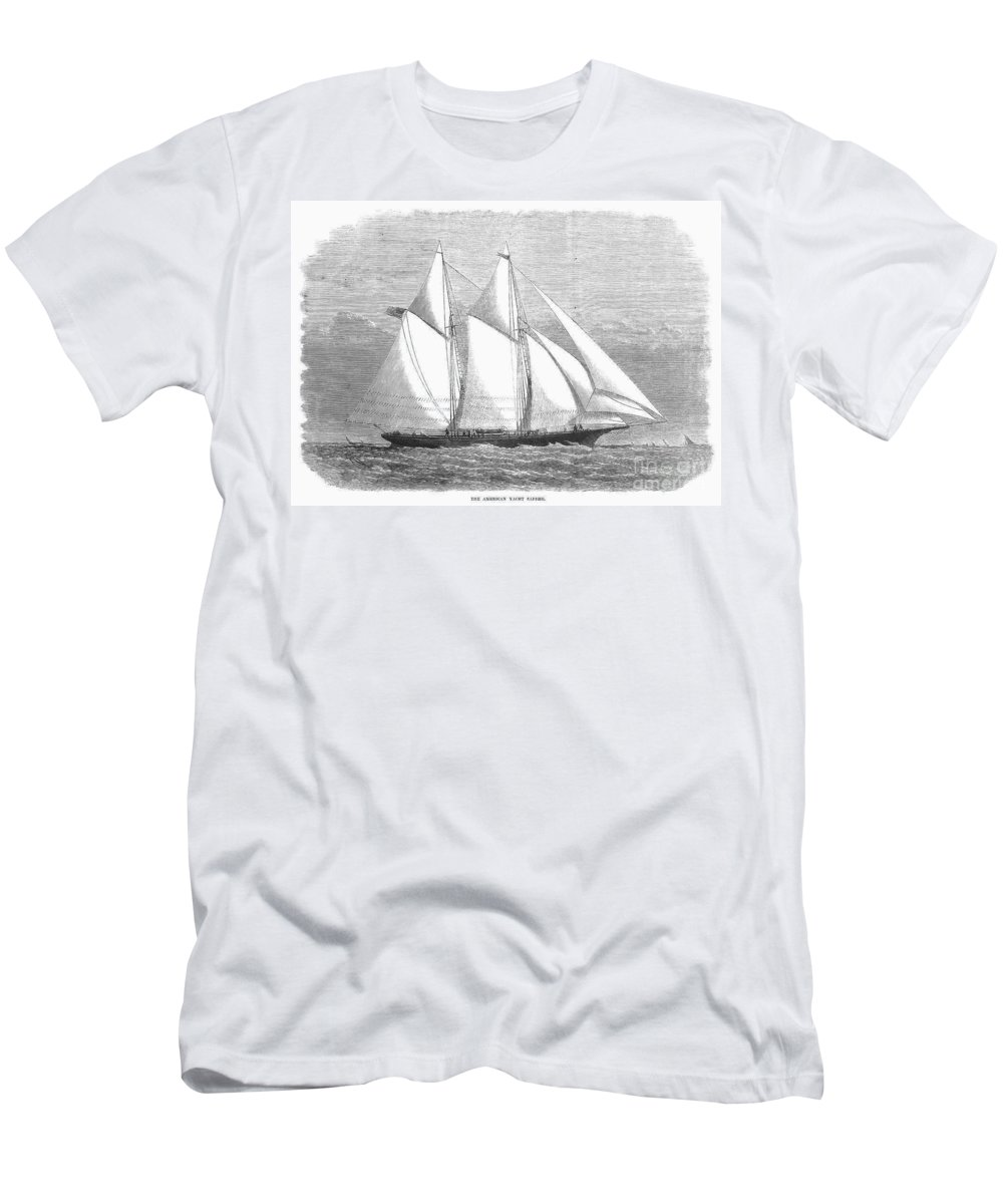 1868 Men's T-Shirt (Athletic Fit) featuring the photograph Yacht: Sappho, 1868 by Granger