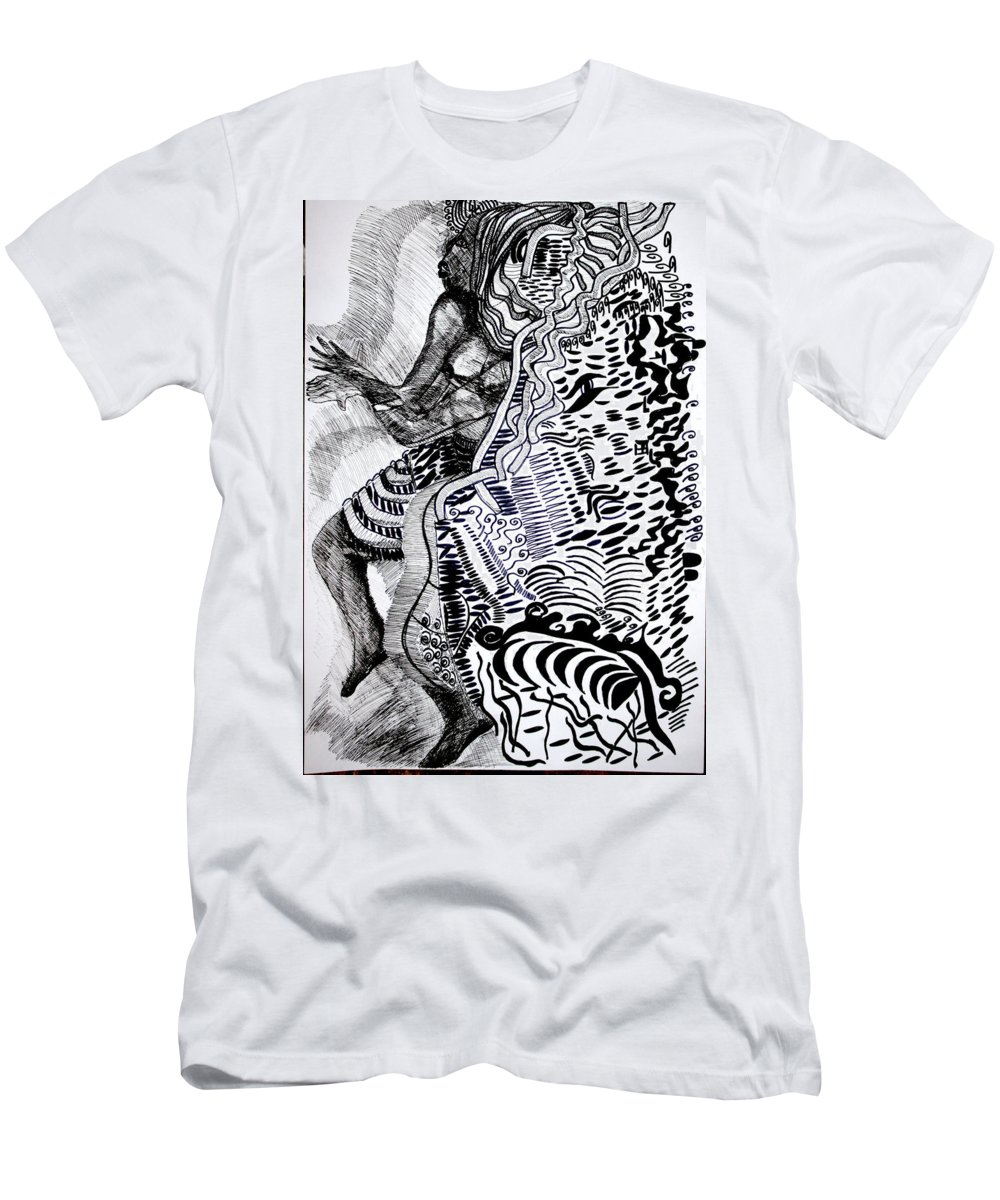 Jesus Men's T-Shirt (Athletic Fit) featuring the drawing Zulu Dance - South Africa by Gloria Ssali