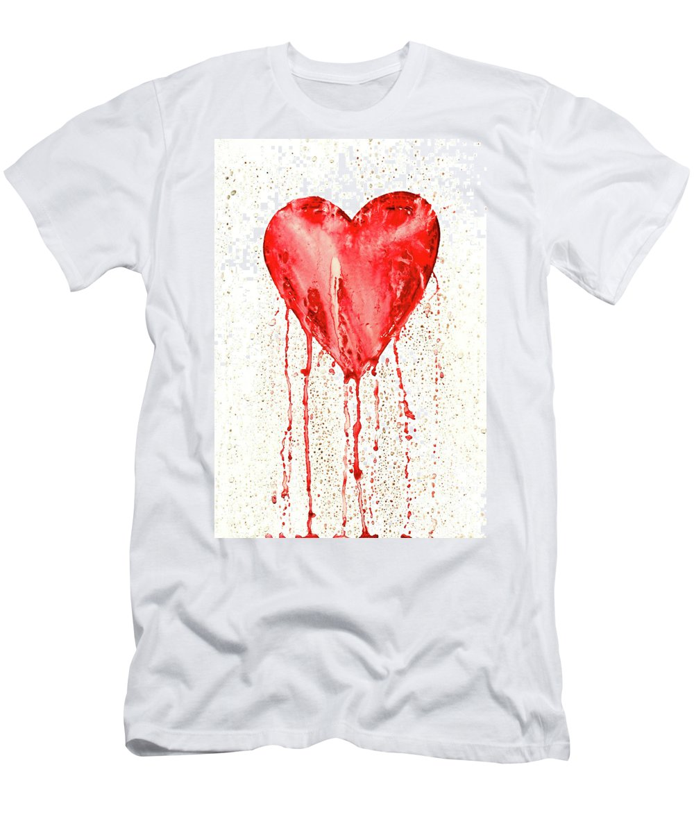 Bleeding Men's T-Shirt (Athletic Fit) featuring the painting Broken Heart - Bleeding Heart by Michal Boubin