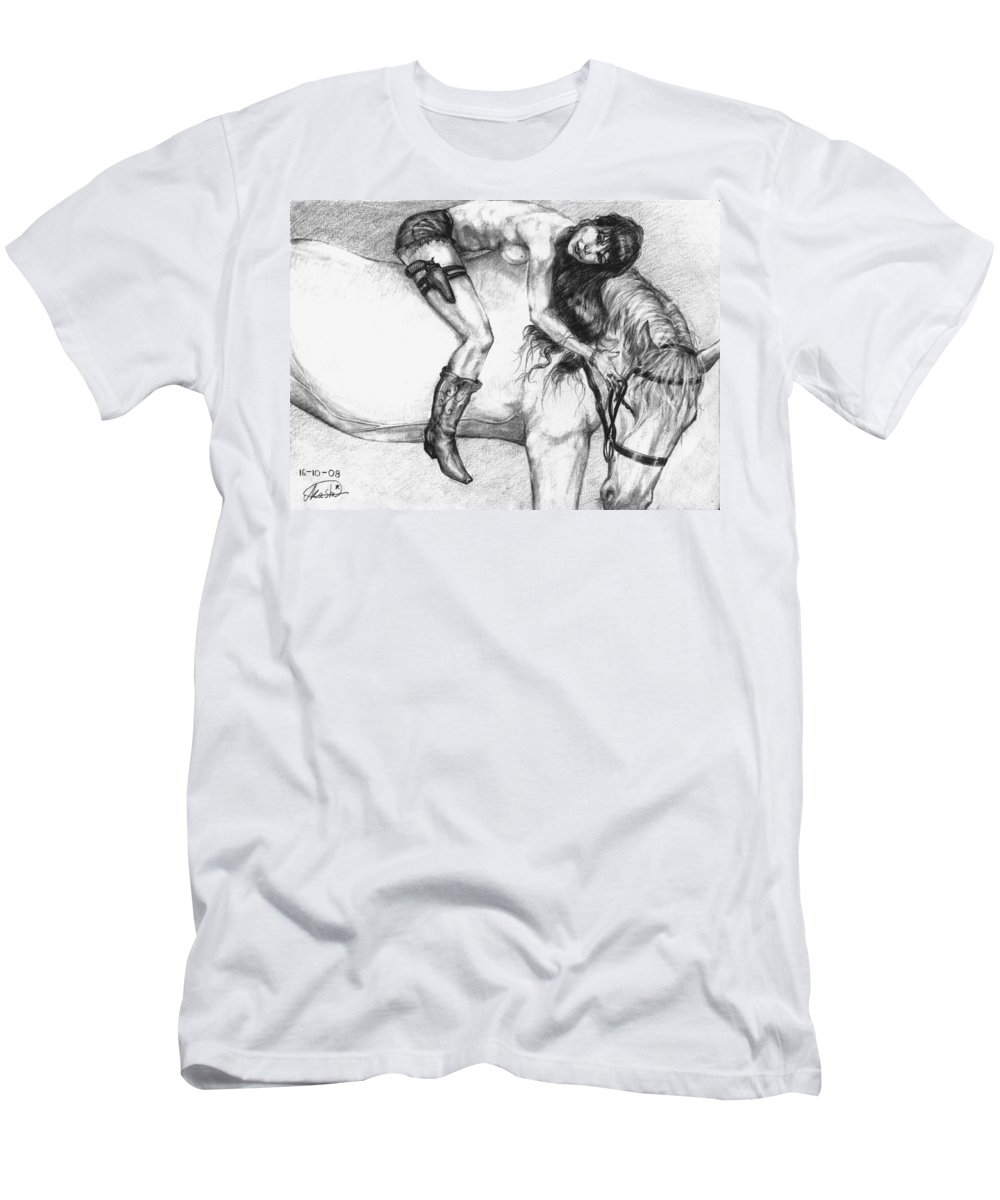 Cowgirl Men's T-Shirt (Athletic Fit) featuring the drawing Cowgirl Riding A Hourse by Alban Dizdari