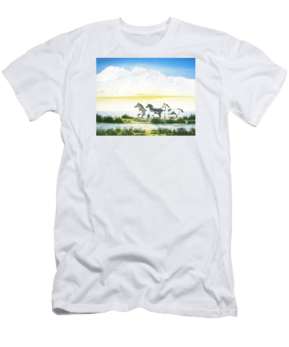 Chincoteague Men's T-Shirt (Athletic Fit) featuring the painting Indian Ponies by Jerome Stumphauzer