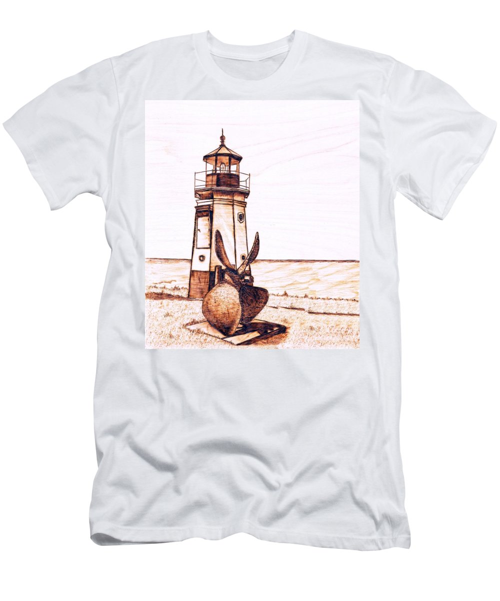 Lighthouse Men's T-Shirt (Athletic Fit) featuring the pyrography Vermilion Lighthouse by Danette Smith