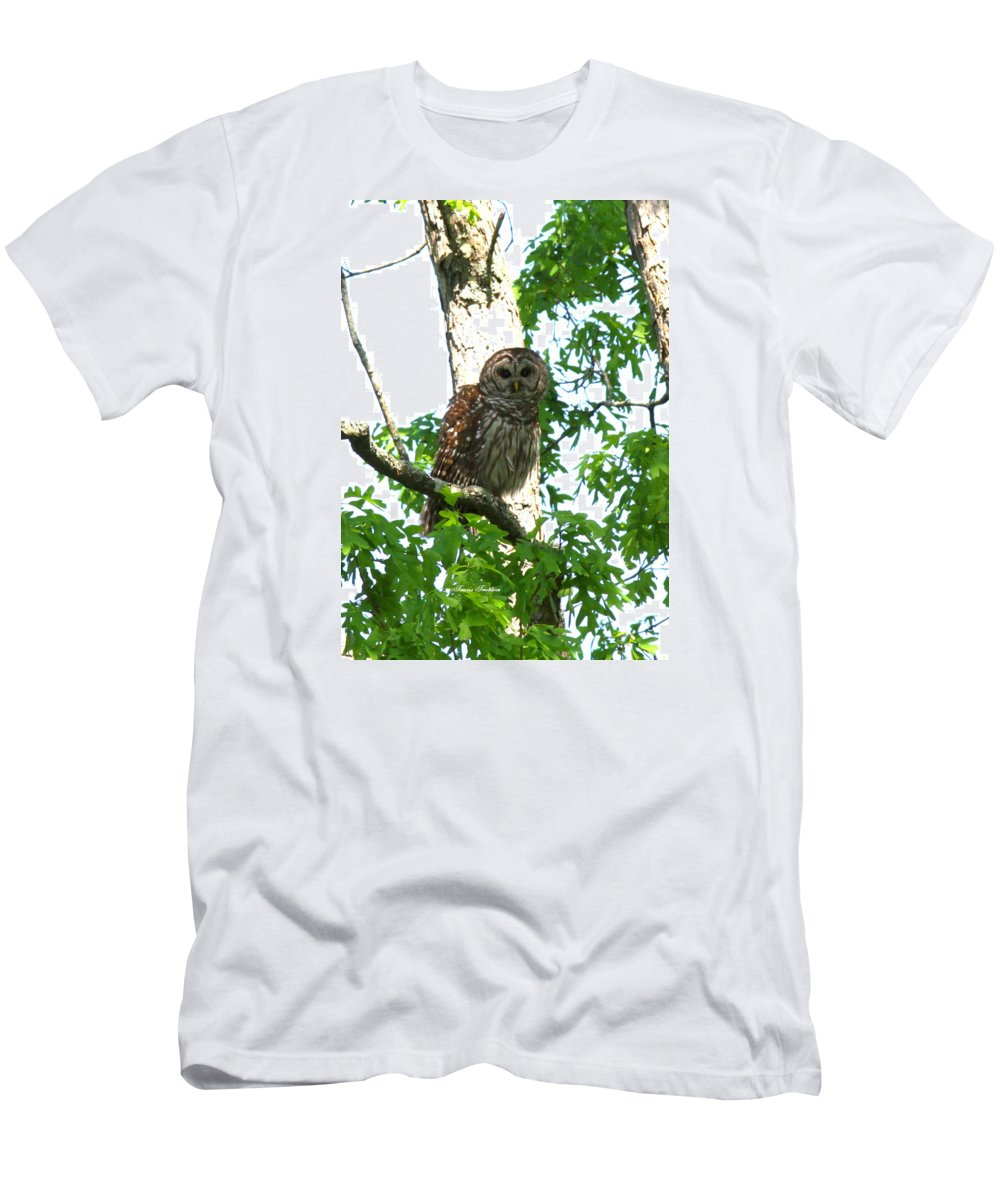 Barred Owl Men's T-Shirt (Athletic Fit) featuring the photograph 0298-001 - Barred Owl by Travis Truelove