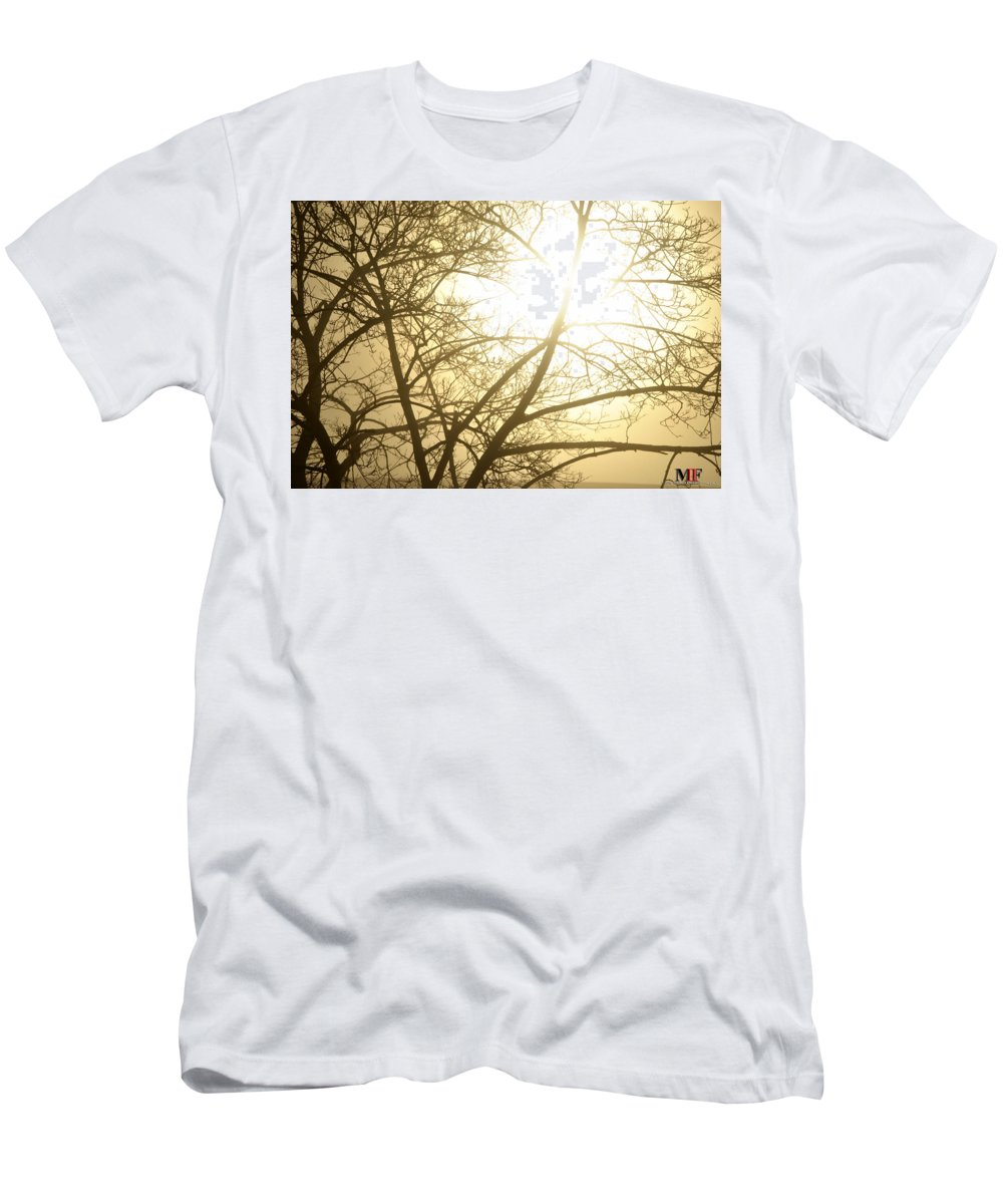 Buffalo Men's T-Shirt (Athletic Fit) featuring the photograph 03 Foggy Sunday Sunrise by Michael Frank Jr