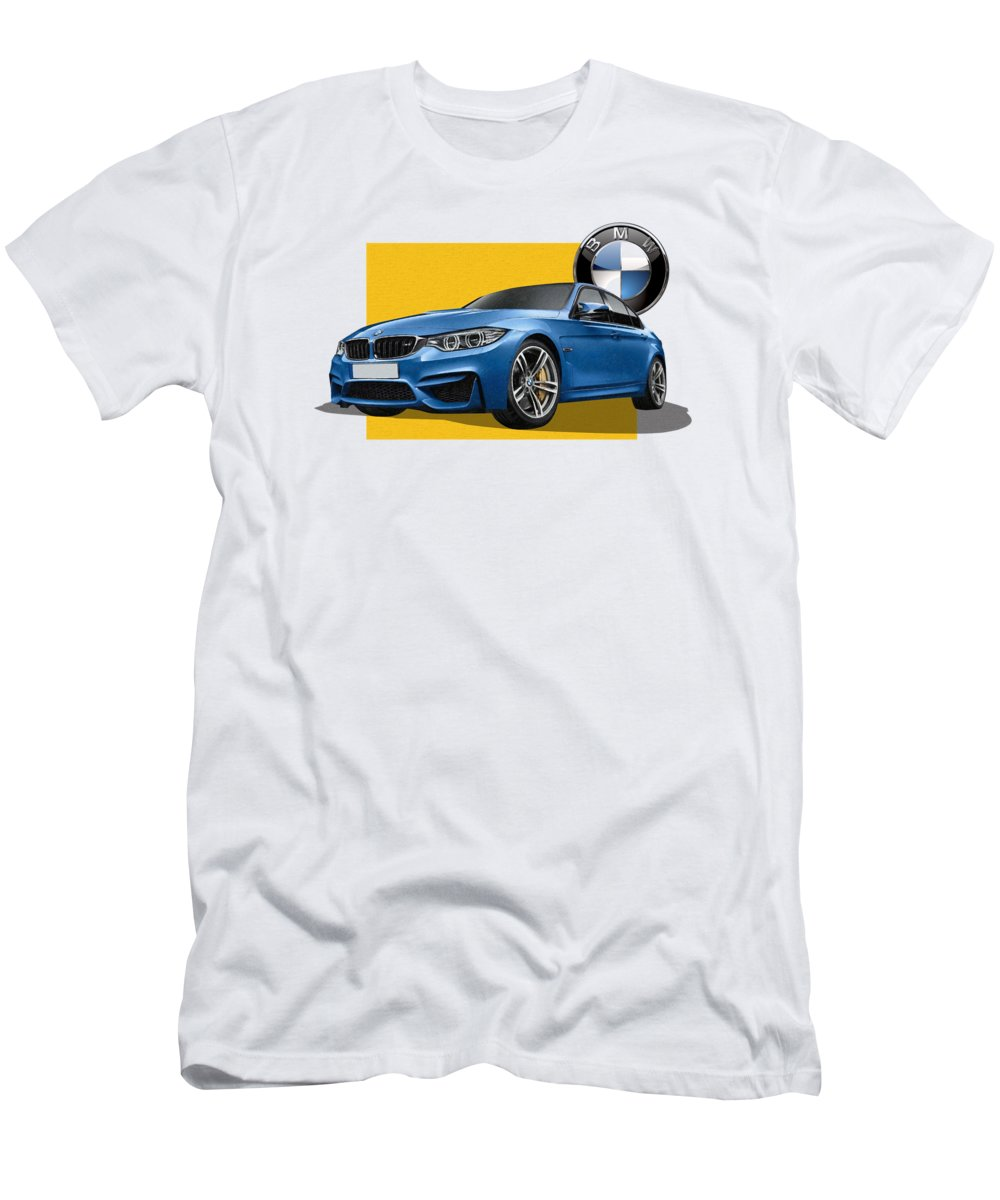 �bmw� Collection By Serge Averbukh Men's T-Shirt (Athletic Fit) featuring the photograph 2016 B M W M 3 Sedan With 3 D Badge by Serge Averbukh