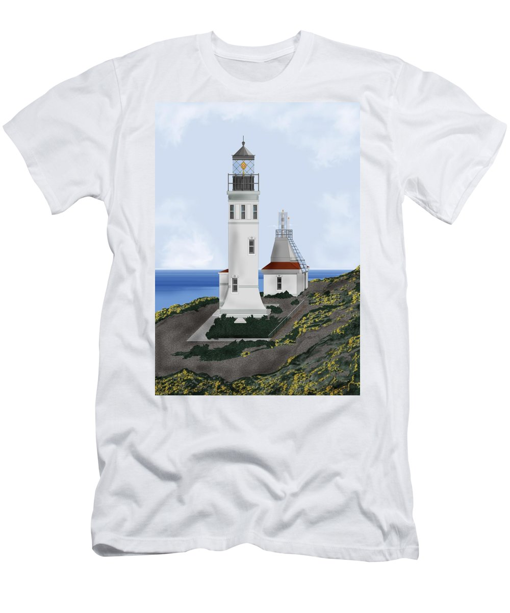 Lighthouse Men's T-Shirt (Athletic Fit) featuring the painting Anacapa Lighthouse California by Anne Norskog