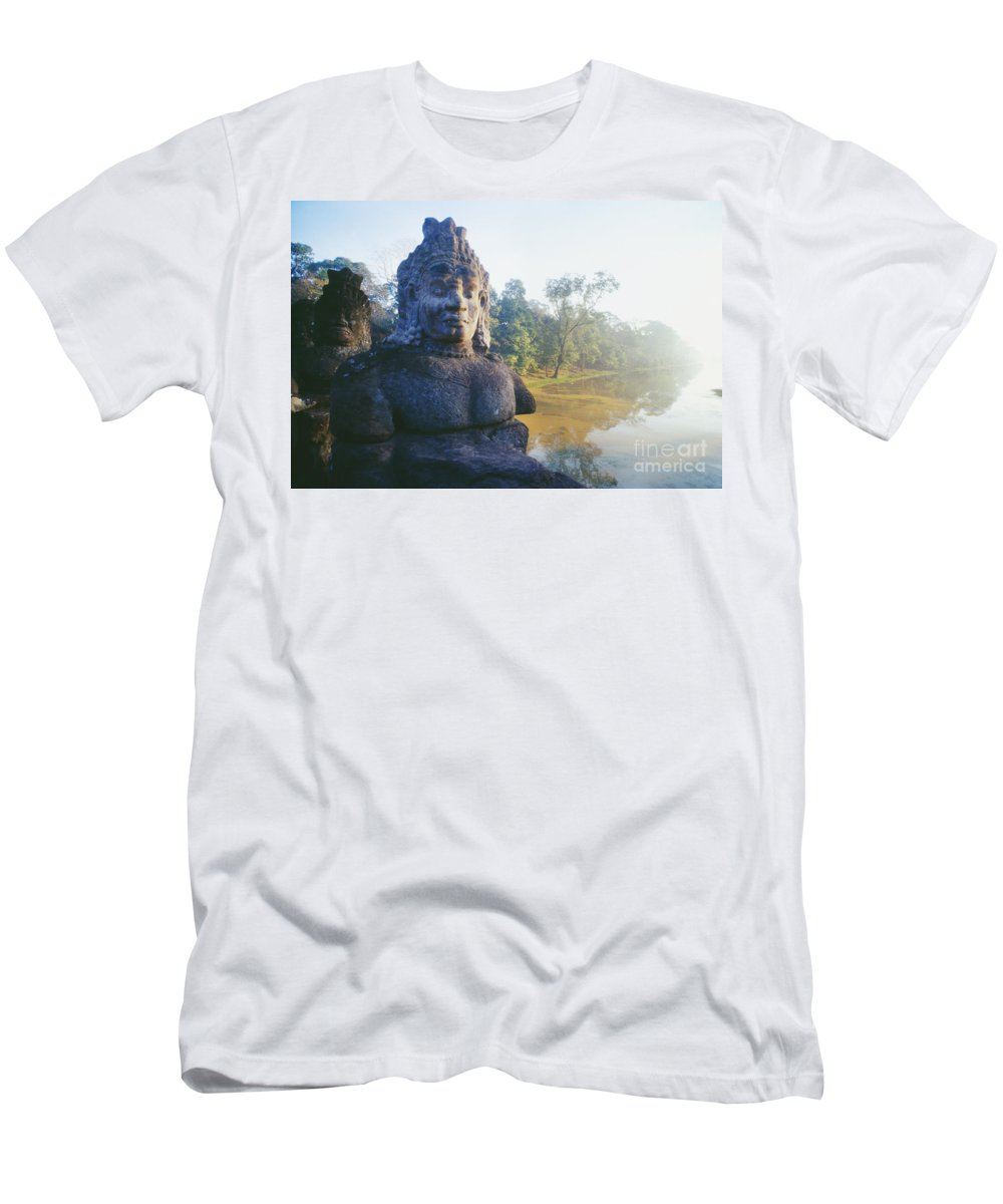 Allan Seiden Men's T-Shirt (Athletic Fit) featuring the photograph Angkor Thom by Allan Seiden - Printscapes