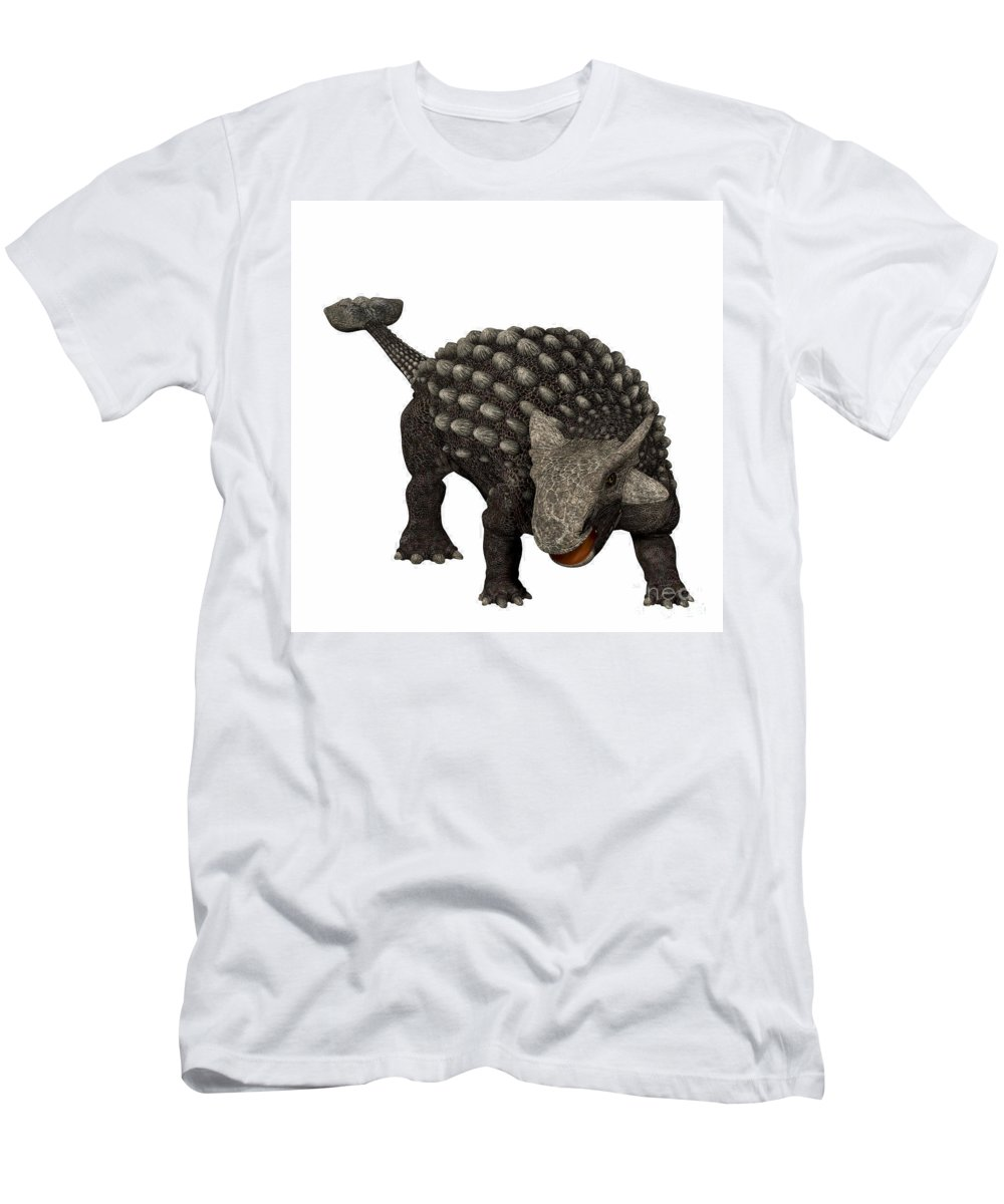 Ankylosaurus Men's T-Shirt (Athletic Fit) featuring the painting Ankylosaurus by Corey Ford