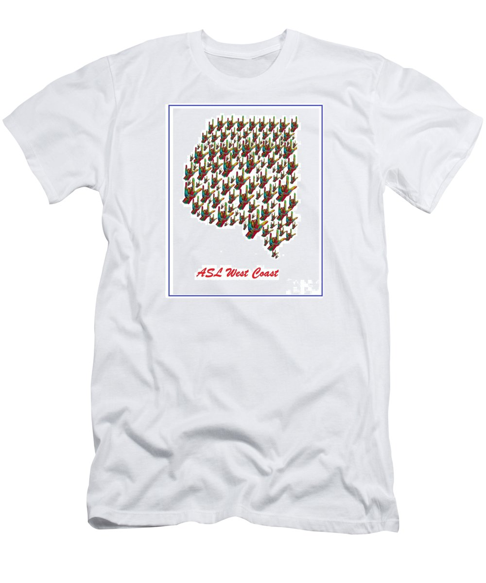 American Sign Language Men's T-Shirt (Athletic Fit) featuring the painting Asl West Coast Map by Eloise Schneider Mote