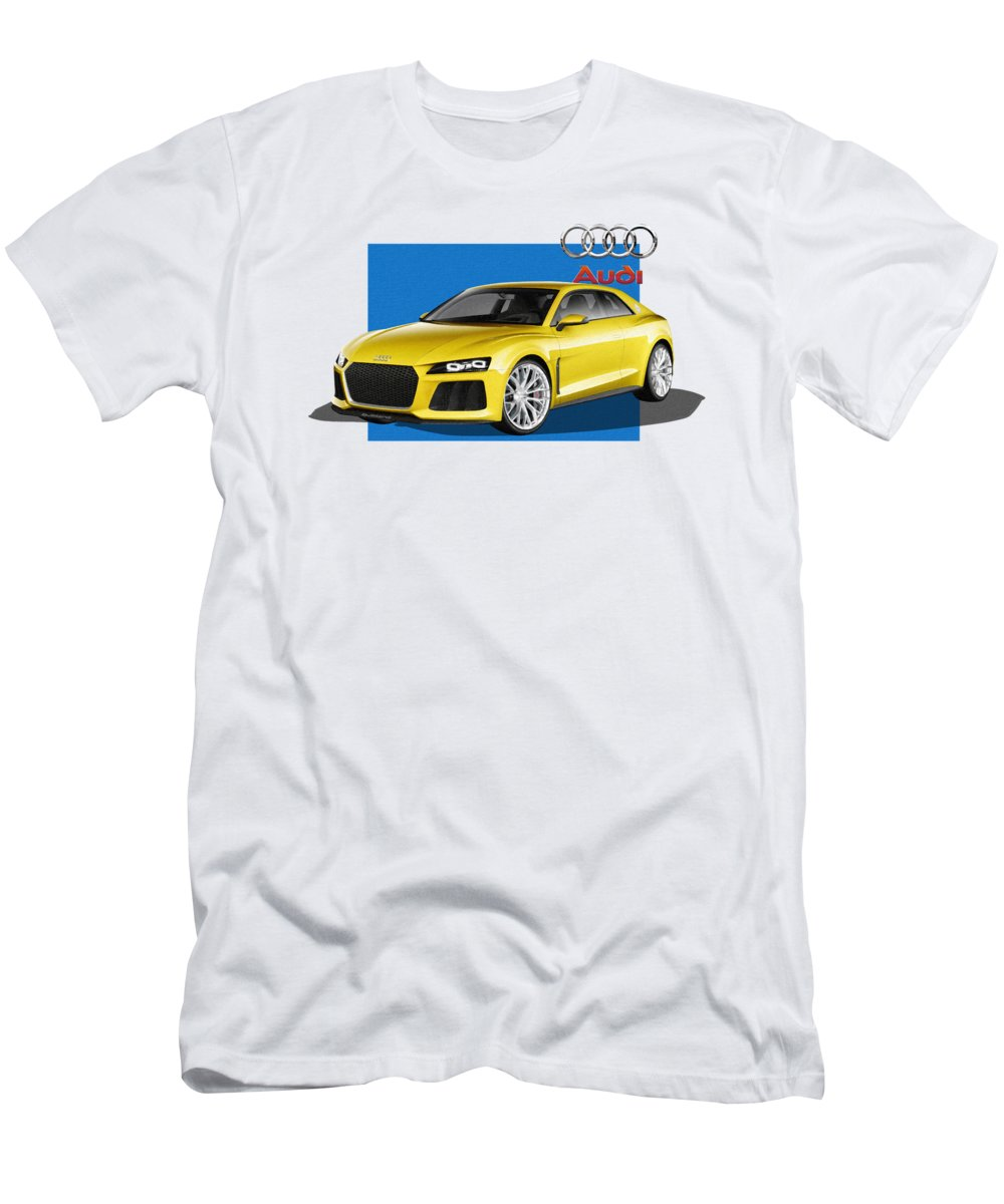 �audi� Collection By Serge Averbukh Men's T-Shirt (Athletic Fit) featuring the photograph Audi Sport Quattro Concept With 3 D Badge by Serge Averbukh