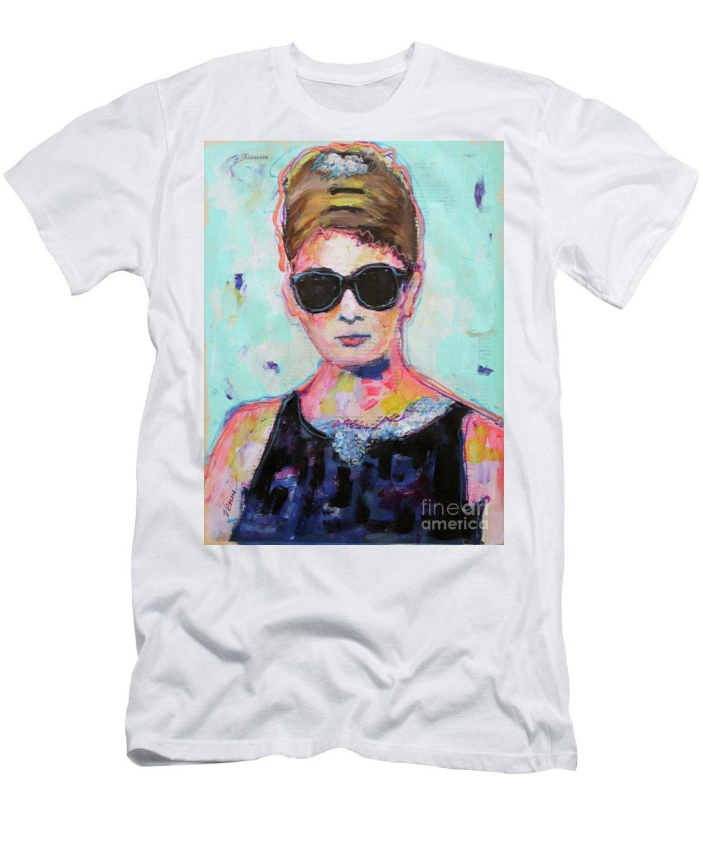 Audrey Hepburn Men's T-Shirt (Athletic Fit) featuring the painting Audrey Hepburn by Venus