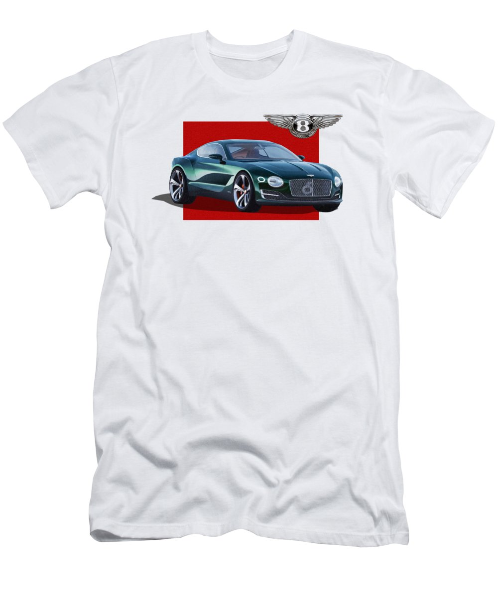 �bentley� Collection By Serge Averbukh Men's T-Shirt (Athletic Fit) featuring the photograph Bentley E X P 10 Speed 6 With 3 D Badge by Serge Averbukh