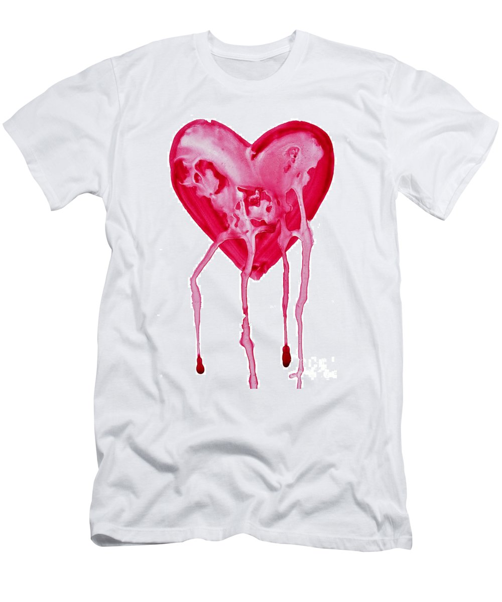 Valentine's Day Men's T-Shirt (Athletic Fit) featuring the painting Bleeding Heart by Michal Boubin