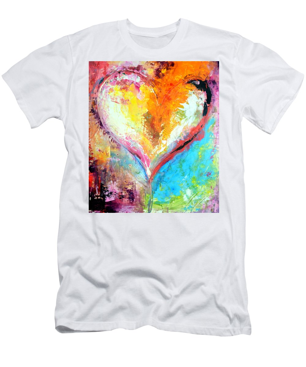 Heart Men's T-Shirt (Athletic Fit) featuring the mixed media Blue Birds Fly by Ivan Guaderrama