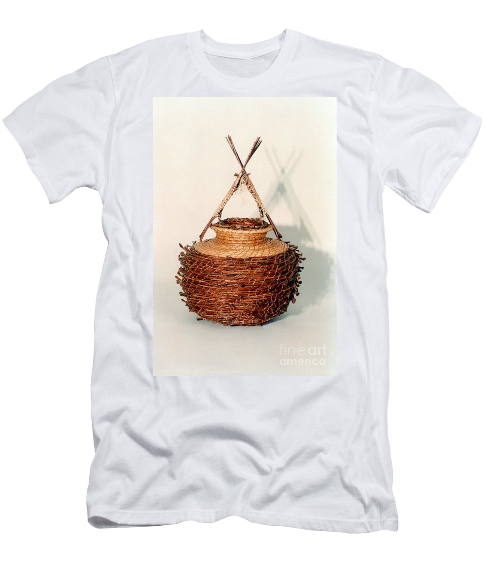 Fibre Men's T-Shirt (Athletic Fit) featuring the mixed media Bound And Unified In Contrast by Kerryn Madsen-Pietsch