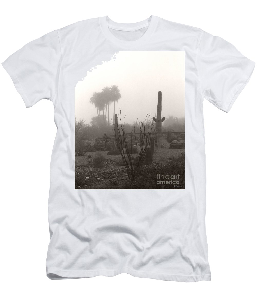Cactus Fog Desert Saguaro Palm Tree Ocotillo Landscape Scene Scenery Scottsdale Phoenix Arizona Men's T-Shirt (Athletic Fit) featuring the photograph Cactus Fog by Heather Kirk