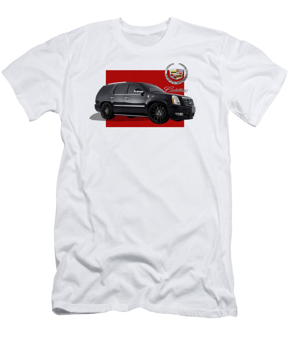 �cadillac� By Serge Averbukh T-Shirt featuring the photograph Cadillac Escalade with 3 D Badge by Serge Averbukh